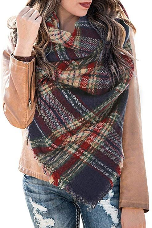 Womens Plaid Blanket Scarf Winter Soft Tassel Scarfs Gorgeous Wrap Shawl By Chuanqi at Amazon Women's Clothing store