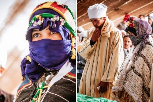 thewesternkingdom:  Imilchil Wedding Festival - Imilchil, Morocco Background on the festival: A young man and young woman from rival Imazighen tribes fell hopelessly in love, but were tragically kept apart by their feuding families. Unable to cope, they cried themselves to death, forming the lakes Isli (his) and Tislit (hers) near the village of Imilchil in the High Atlas Mountains. It is this tragedy, the story goes, that gave rise to the Imilchil marriage festival, an annual matchmaking…