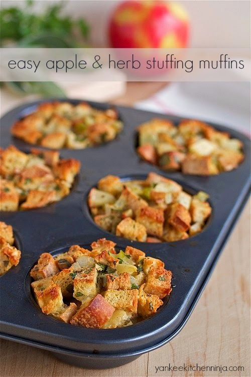 Simple apple and herb stuffing muffins . Chock full of apples and ...
