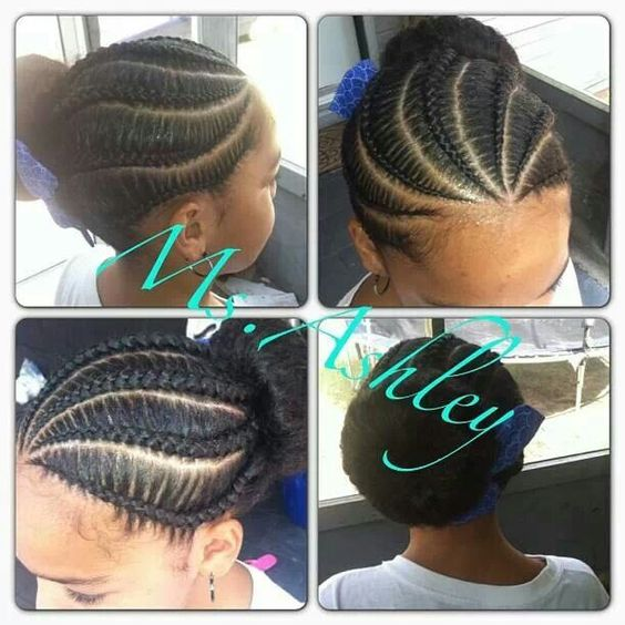 how to make ponytail of straight brazilian weave : Cornrows With Low Bun Braided bun natural kids: cornrow-buns pinterest ...
