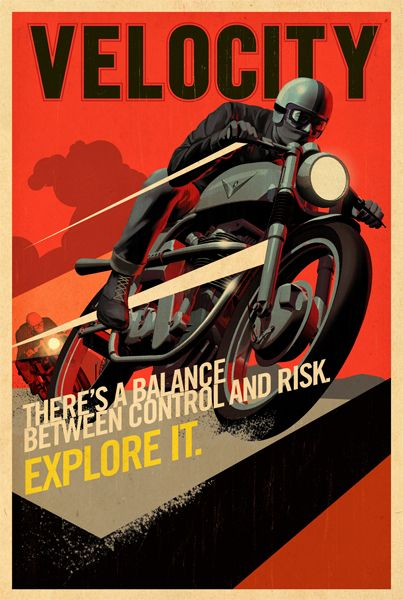 """Discovery Velocity Cafe Bike for Discovery Network, 2011. One of a series of large format posters advertising the launch of Discovery Network's new interest channel, """"Velocity."""""""