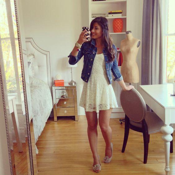 denim jacket with white dress | Gommap Blog