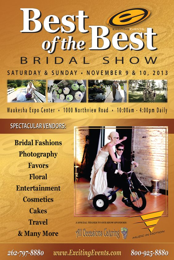 Natalie Herbeck-Moore   For those upcoming brides getting married in 2014 please join All Occasions Catering / Bubb's BBQ at Best of the Best Bridal Show held at the Waukesha Expo Center next weekend; November 9th & 10th from 10 am -4 pm. This Bridal Show is Sponsored by Exciting Events!!! Take this opportunity to collectively gather ideas from numerous vendors for your special day :)