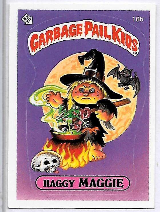 Garbage Pail Kids 1st Series Haggy Maggie 16b Vintage Nm Usa Matte Garbage Pail Kids Garbage Pail Kids Cards Pail