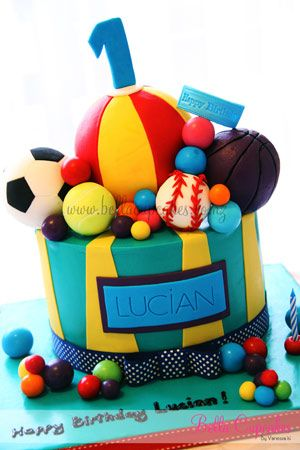 sports ball cake - use of cake balls to decorate  Kid Party Ideas ...