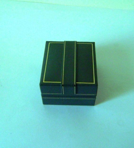 Ring box Jewellery Vintage Gray Leather Gilt Deco 5.2 cm x 3.3 cm x 4.7 cm (N5)
