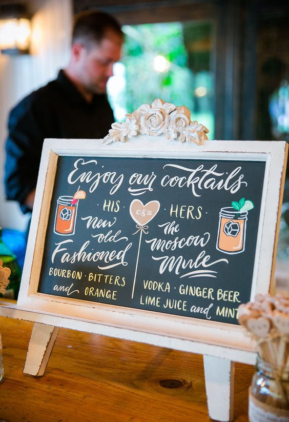 His and Her cocktails, New Old Fashioned, The Moscow Mule // Dana Cubbage Weddings: