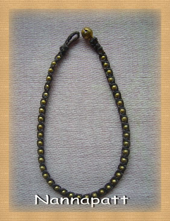 Gold brass beads woven by wax rope bracelet  Anklet. for Halloween on Etsy, ฿221.09