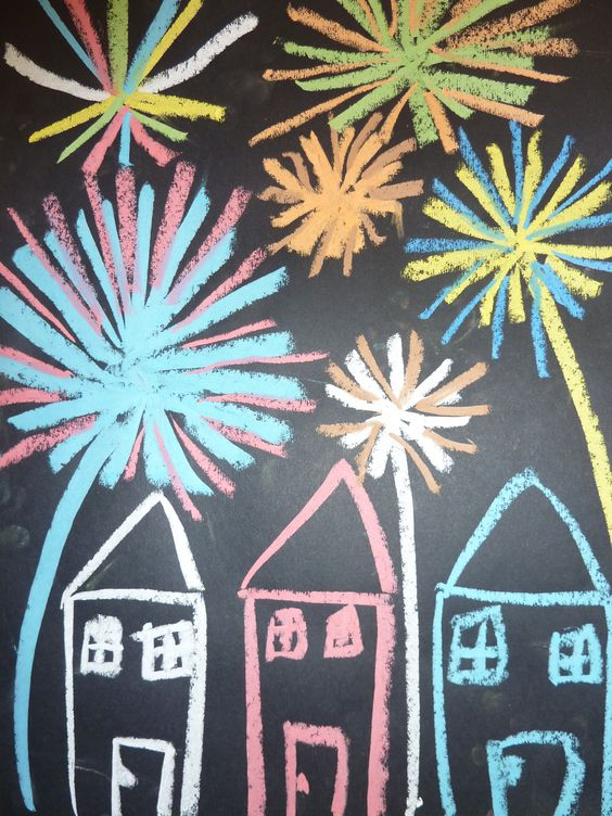 Feuerwerk (Zuckerkreide)  malen mit Kindern  Pinterest ...