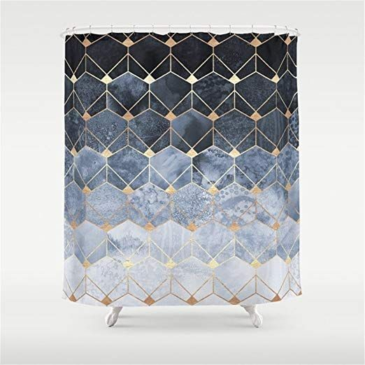 Amazon Com Huisfa Blue Hexagons And Diamonds Shower Curtain 72 X