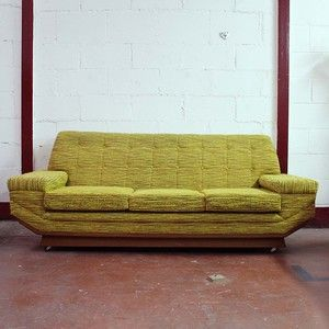 60 39 s to 70 39 s couch olive green retro basement for Sofa bed 60s