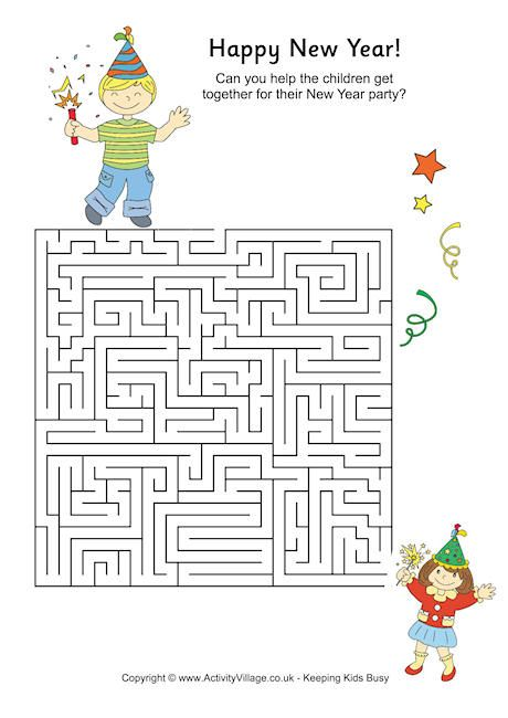 New Year maze. Activities for kids at New Year. | Activity Village ...