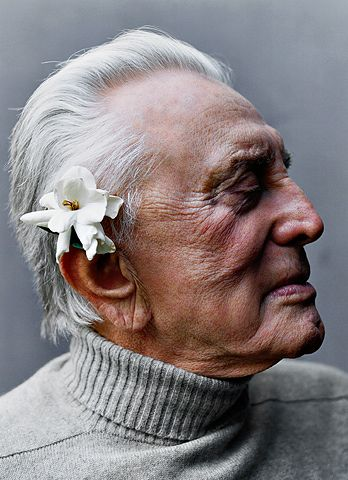 """Kirk Douglas (portrait by  ?) Link goes to great short 2001 interview in Esquire on """"What I've Learned"""" (when he was 84): """"It seems as if only now I really know who I am. My strengths, my weaknesses, my jealousies -- it's as if all of it has been boiling in a pot for all these years, and as it boils, it evaporates into steam, and all that's left in the pot in the end is your essence, the stuff you started out with in the very beginning."""""""