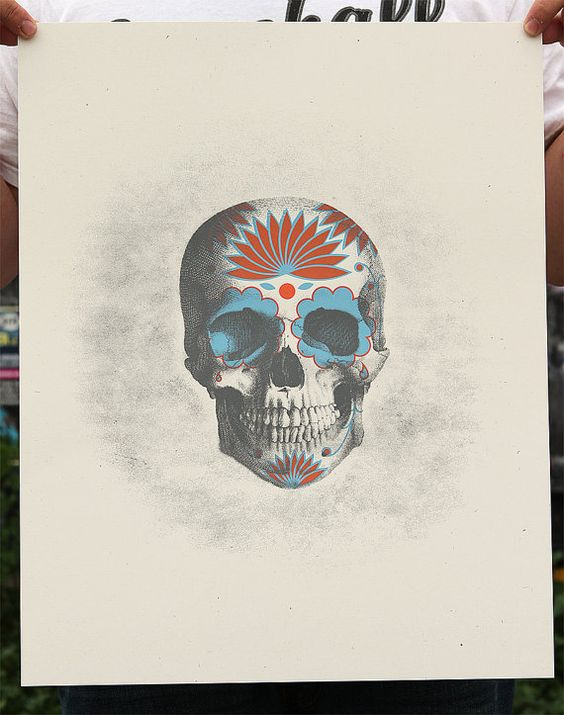 Day of the Dead Skull Screenprint by perfectlaughter on Etsy, $20.00