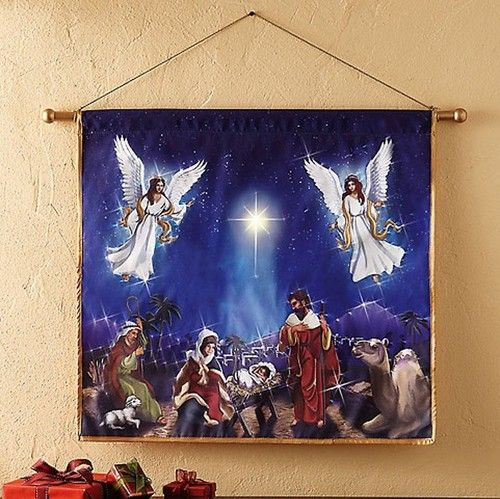 Silent Night Fiber Optic Lighted Nativity Religious Jesus
