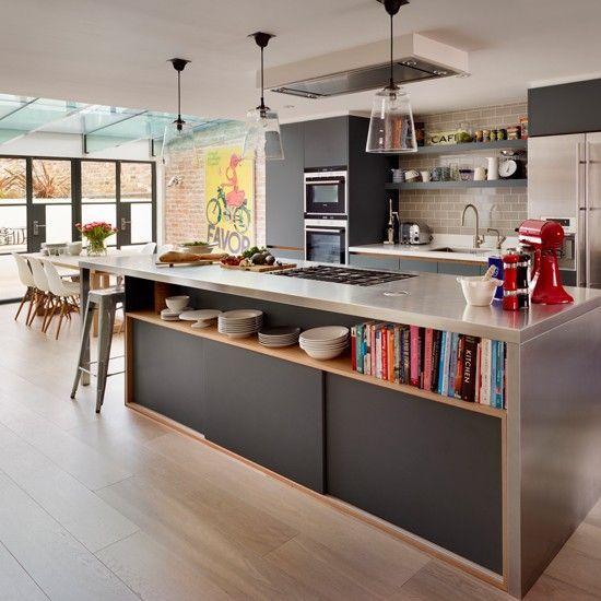 cuisine gris, bois et noir: