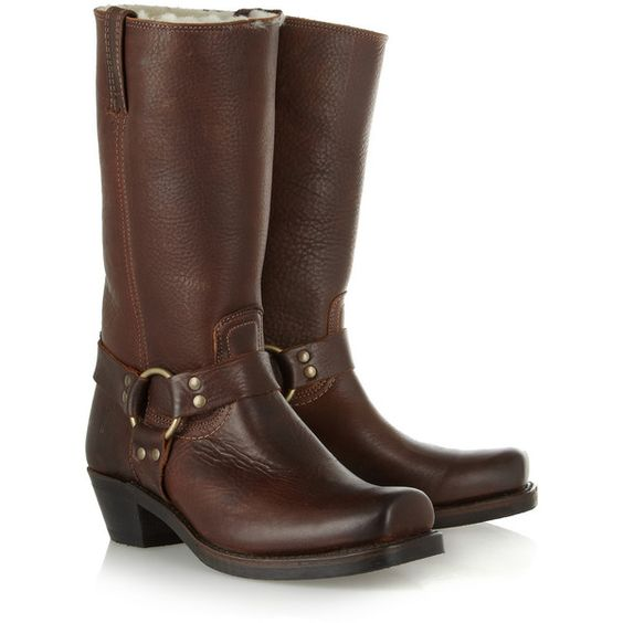 Frye Harness shearling-lined leather boots ($265) ❤ liked on Polyvore featuring shoes, boots, shoes - boots, chocolate, frye shoes, mid-heel boots, leather harness boots, leather slip on shoes and slip on shoes