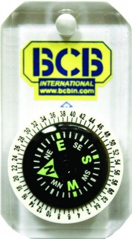 """An extremely compact and accurate button compass. Features a rotating bezel and a clear acrylic base plate. Nylon lanyard included Oil filled and cushion mounted Luminous dial Weight: 8g (0.28oz) Size: 3 x 5cm (1 x 2"""")"""
