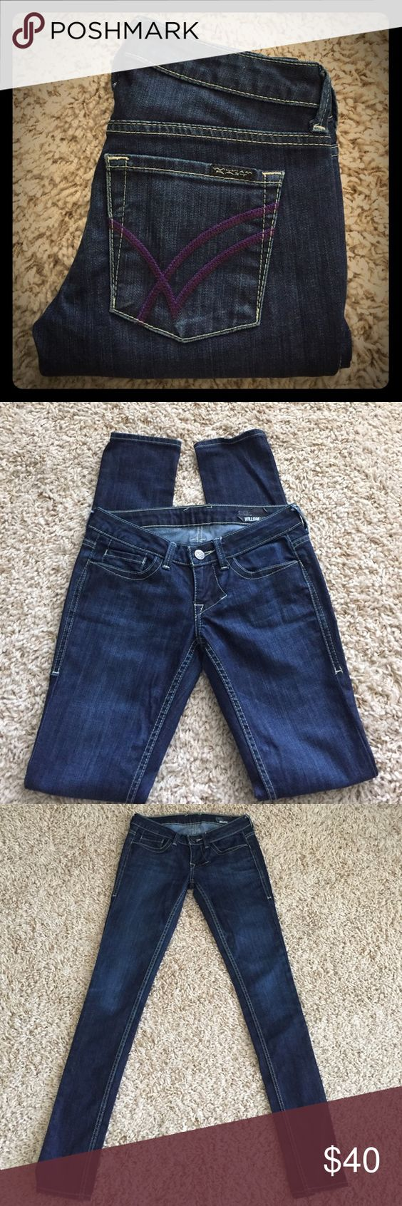 "William Rast skinny jeans Rad pair of William Rast skinny jeans in dark blue wash with signature W's stitched on back pockets in purple. Size 25, 33"" inseam William Rast Jeans Skinny"