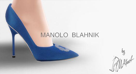 Lana CC Finds - Manolo Blahnik Hangisi Blue Satin Pumps by MrAntonieddu