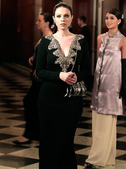 In Season 6 Georgina Sparks (Michelle Trachtenberg) slipped into an embellished black gown.