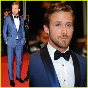 Ryan Gosling Blue Suit and Black Bow Tie