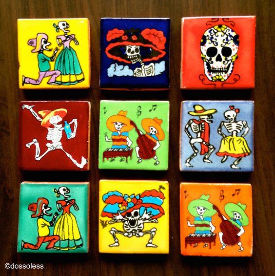 Dia de Muertos Talavera Magnets