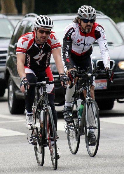 Patrick Dempsey riding a bike
