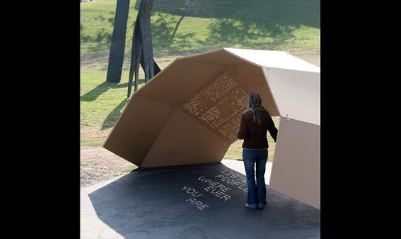 "The pavilion is a geodesic dome-shaped shelter punctured by a series of perforations that allow light into the shelter, at the same time projecting the text of poetry onto the ground beneath it. The specific arrangements of the perforations reveal different shadow poems according to the solar calendar. Using this ""slow media"" technique, the project demonstrates the poetic, transitory, site-sensitive, and time-based nature of light and shadow. … Jiyeon Song"