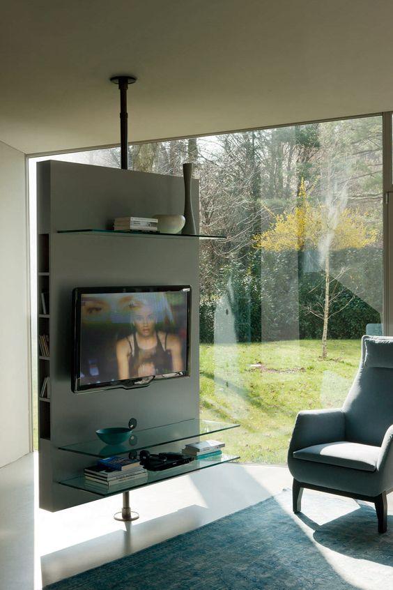 Meuble de t l vision contemporain pivotant en bois for Meuble tv cloison
