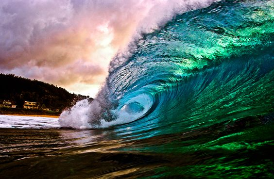 Pipeline, Oahu Hawaii.  Sunset water shot with a flash.