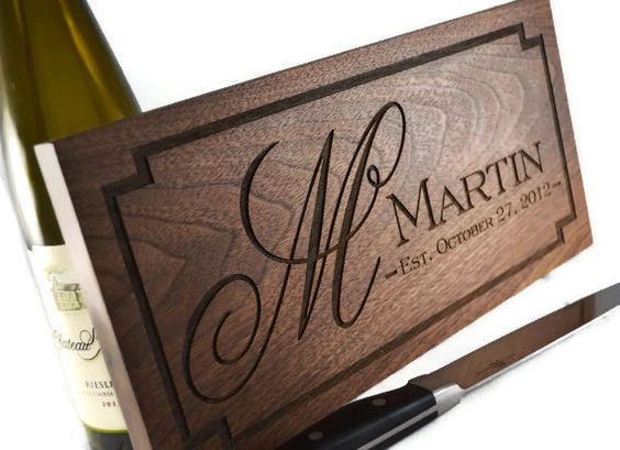Personalized Cutting Board Engraved Walnut Wood For