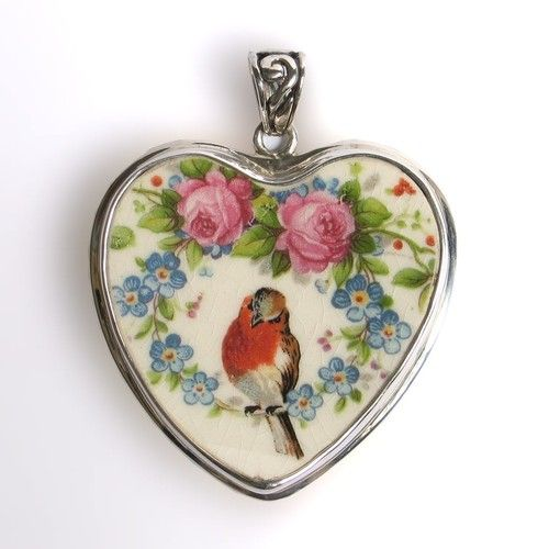 www.vbelle.com, broken china jewelry, Mount Clemens robin and roses, $128