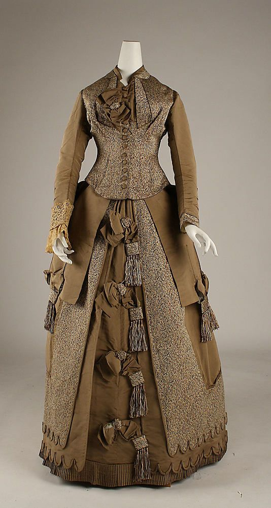 Afternoon Dress 1874, American, Made of silk and cotton