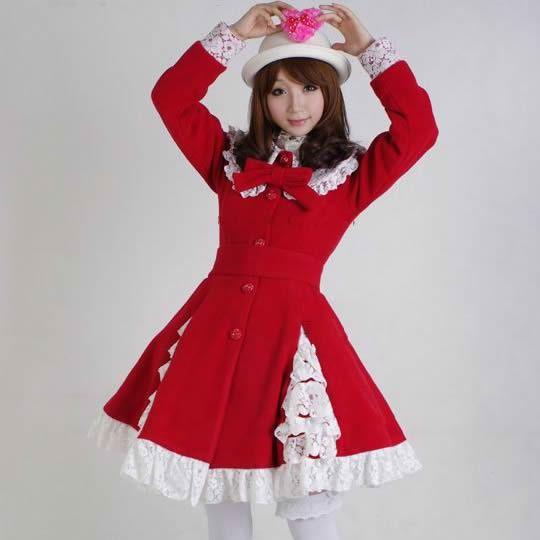 Custom Petite - Plus Size Red Wool Lolita Princess Dress Trench