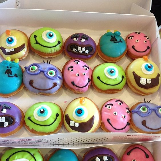 These are fun! They are Krispy Kreme decorated donuts...
