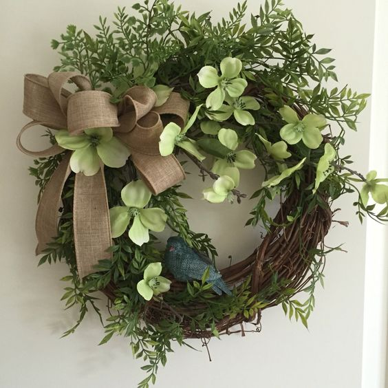 A personal favorite from my Etsy shop https://www.etsy.com/listing/464258041/bluebird-grapevine-wreath