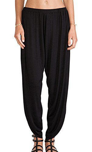 Chicside Womens Loose Fashion Immigrating Slit Baggy Harem Long Pants Black S *** Check out the image by visiting the link.