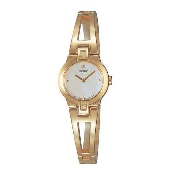 Seiko Gold-plated Bangle Watch SUJ708P1 ($99) ❤ liked on Polyvore