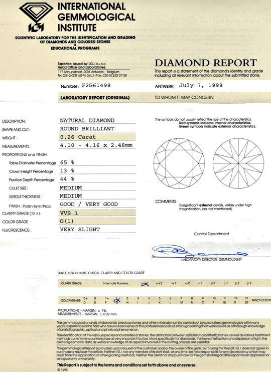 Foto 9, Diamant 0,26ct IGI Brillant feines Weiss, G VVS1 Juwel!, D5661