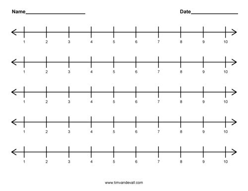 Printable number line 1 to 10 for kids Free Math worksheets – Free Math Worksheets Number Lines