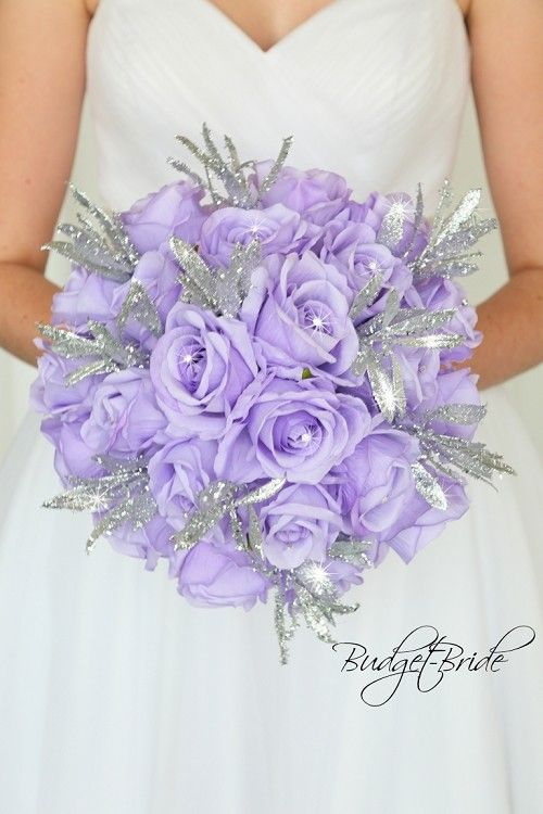 Lavender And Silver Glitter Theme Brides Bouquet Purple And Silver Wedding Lavender Wedding Purple Wedding Flowers