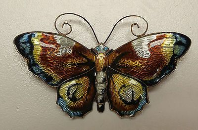 Vintage-David-Andersen-Sterling-Silver-925-Norway-Enamel-Butterfly-Pin-Brooch
