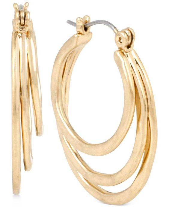 Robert Lee Morris Soho Gold-Tone Triple Hoop Earrings