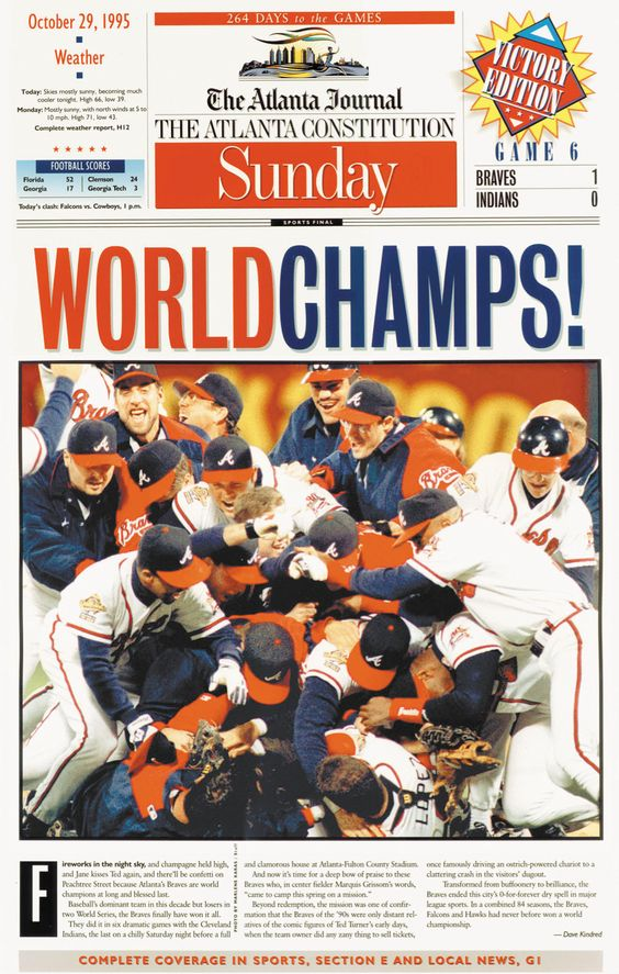The AJC's Sunday front page from Oct. 29, 1995, celebrating the Braves' World Series win. (AJC archives)