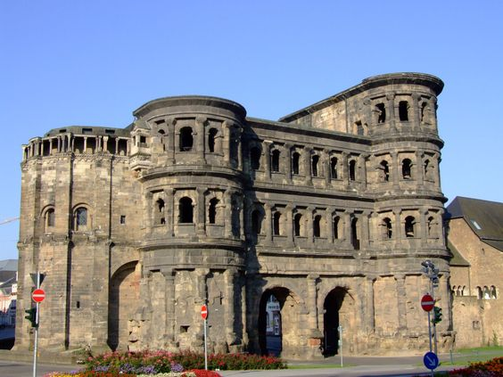 """TRIER (GERMANY): The """"Porta Nigra"""" gate dates back to a time (about A.D. 180) when the Romans often erected public buildings of huge stone blocks (here, the biggest weigh up to six metric tons)."""