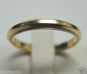 Antique Ladies Wedding Band Ring SIZE 55 UK K1 2 14KY Art Deco Vintage Estate Fine Jewelry