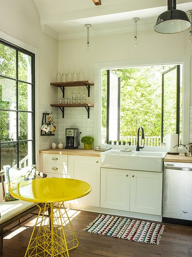 White metro tiles belfast sink white cabinets wooden for Yellow farmhouse table