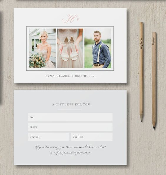 Photographer Template - Gift Card - Photography Marketing Templates - Wedding Photographer Branding  - Beautiful images courtesy of @sharonnicole