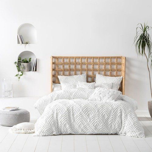 Linen House White Palm Springs Cotton Quilt Cover Set White Quilt Cover Duvet Bedding Sets Bed Linen Sets